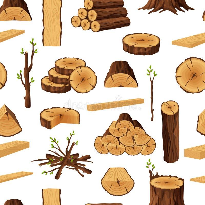 Modelo inconsútil de los materiales de la leña, fondo rerepeating con los elementos de madera Ramas de madera del tronco de árbol libre illustration
