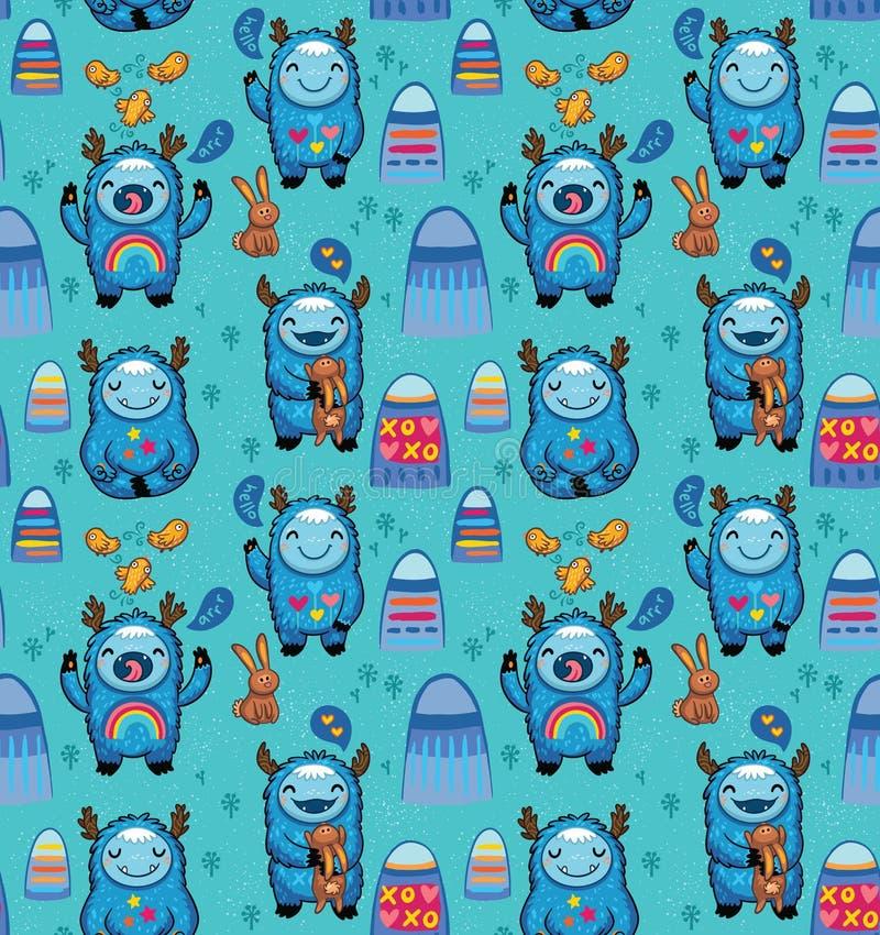 Modelo inconsútil de los monstruos lindos en un fondo azul Vector los personajes de dibujos animados con la diversión y el juego  ilustración del vector