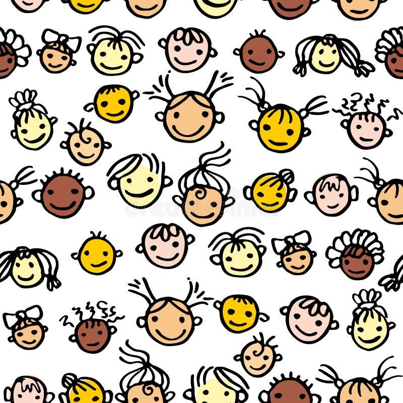 Modelo inconsútil de los niños sonrientes de las caras Ni?os felices libre illustration