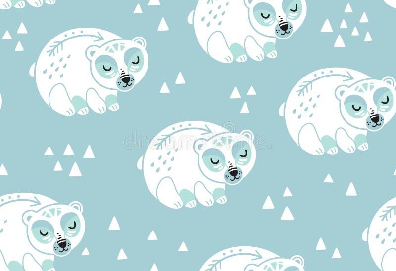 Modelo inconsútil de los osos polares en los colores blancos y azules ilustración del vector