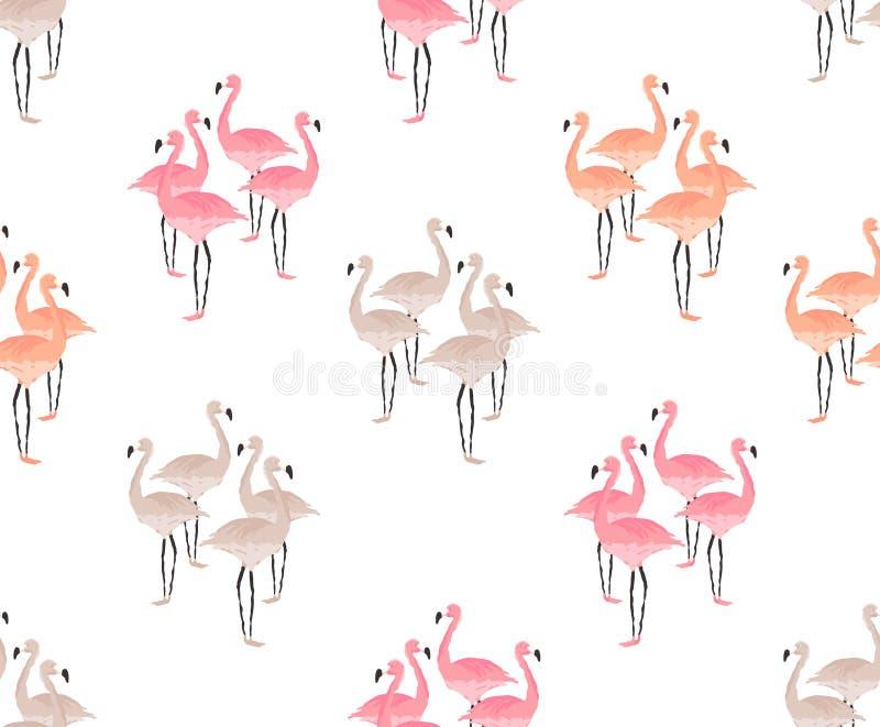 Modelo inconsútil de los pájaros del flamenco libre illustration