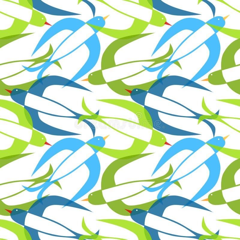 Modelo inconsútil de los pájaros del trago ilustración del vector