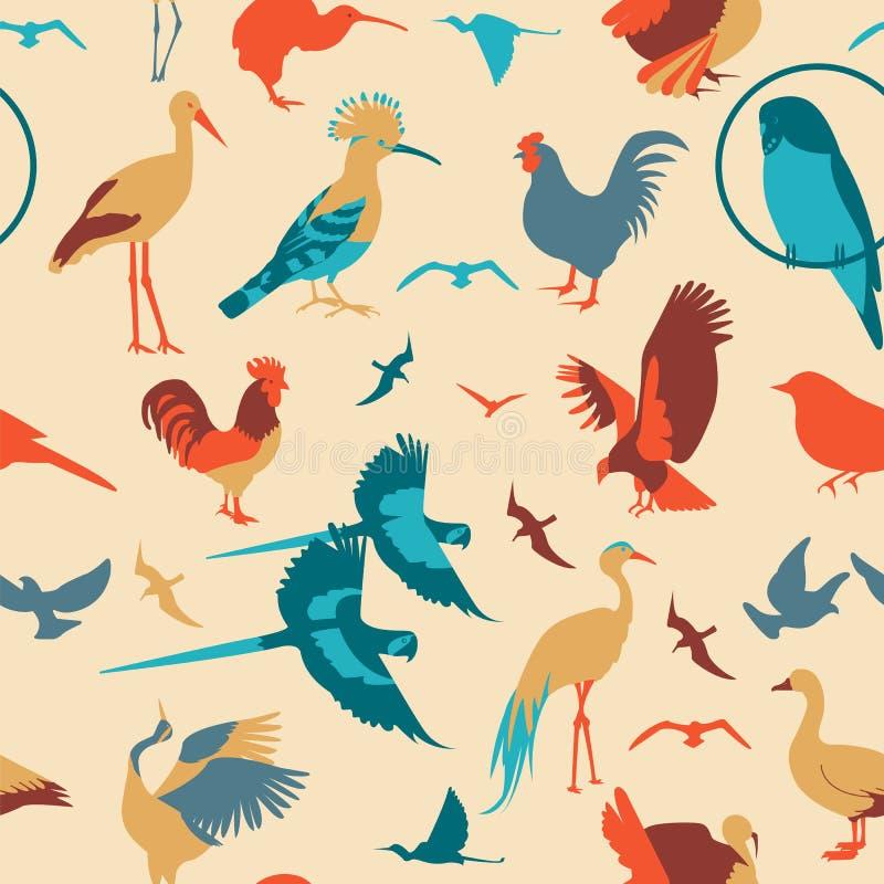Modelo inconsútil de los pájaros Estilo plano del vector libre illustration