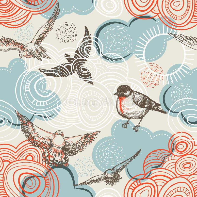 Modelo inconsútil de los pájaros y de las nubes libre illustration