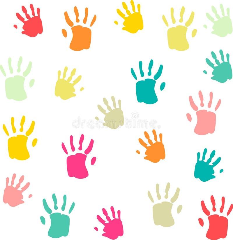 Modelo inconsútil de los palmprints lindos y coloridos del bebé stock de ilustración