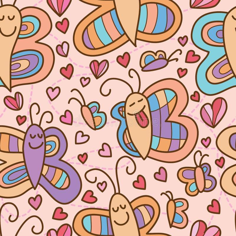 Modelo inconsútil de los pares de la sonrisa de la mariposa libre illustration