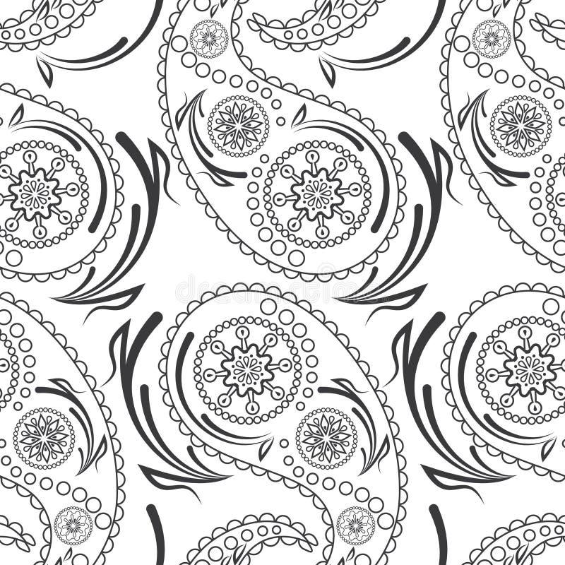 Modelo inconsútil de los pepinos hermosos de Paisley Adorno turco, indio, persa, mexicano, africano stock de ilustración