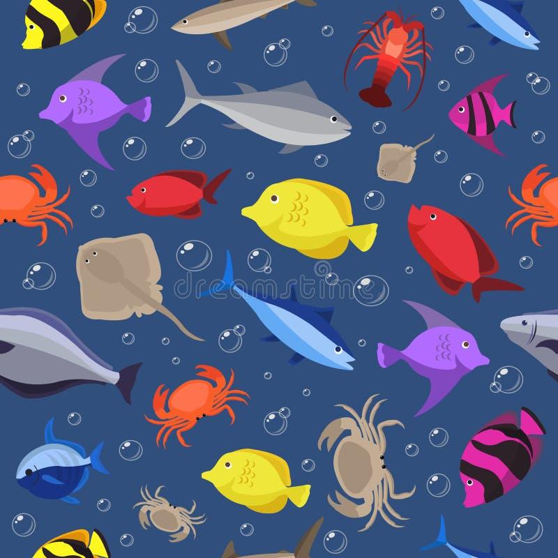 Modelo inconsútil de los pescados coloridos Pescados y cangrejos del océano Ilustración del vector libre illustration
