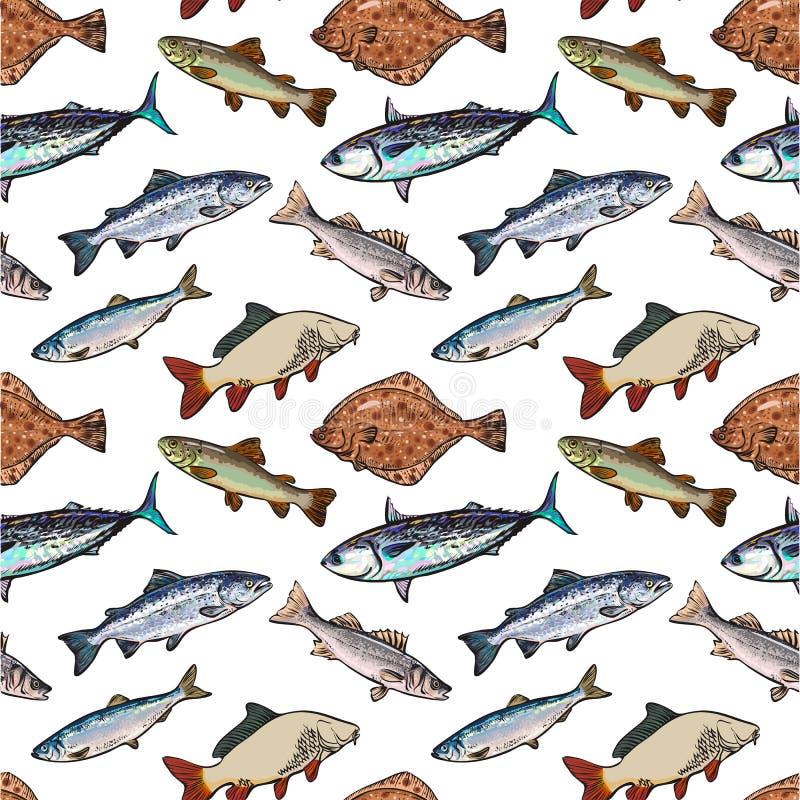 Modelo inconsútil de los pescados de mar del estilo del bosquejo, ejemplo del vector ilustración del vector