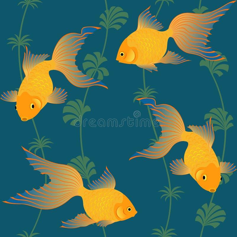 Modelo inconsútil de los pescados del oro ilustración del vector