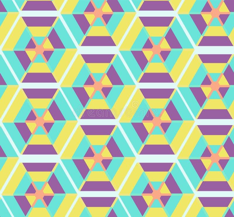 Modelo inconsútil de los polígonos coloridos del inconformista con adorno tribal étnico del rombo, del trapecio y del triángulo libre illustration