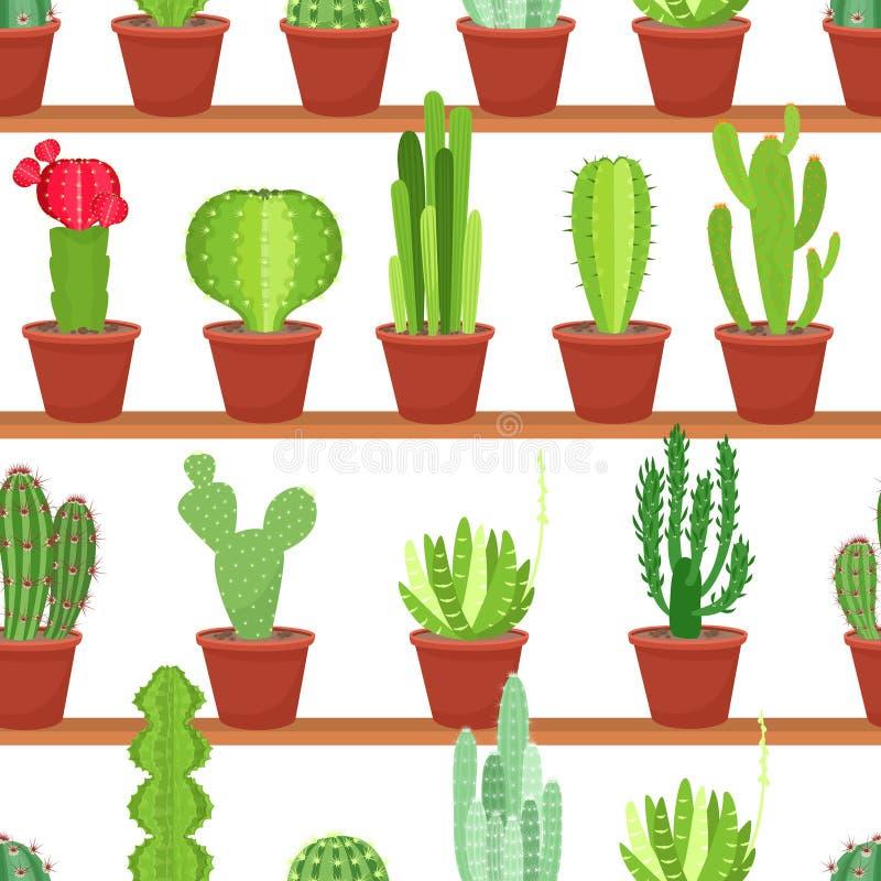 Modelo inconsútil de los potes de flores con los cactus y los succulents Ilustración del vector libre illustration