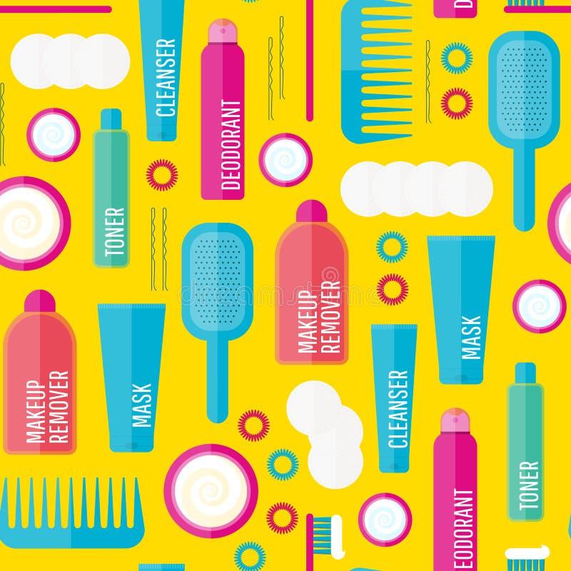 Modelo inconsútil de los productos de belleza del vector libre illustration