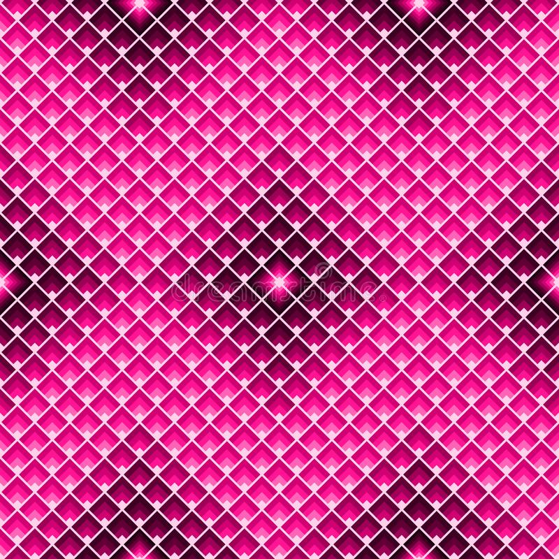 Modelo inconsútil de los rectángulos Textura geométrica de la teja con los rombos rosados stock de ilustración