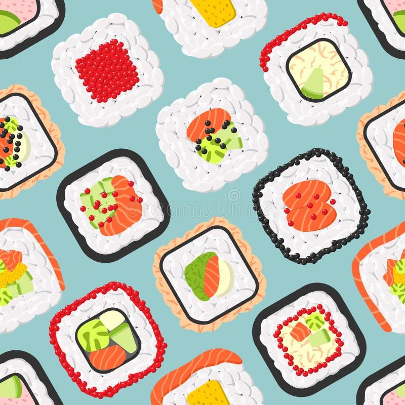 Modelo inconsútil de los rollos de sushi coloreados lindos ilustración del vector