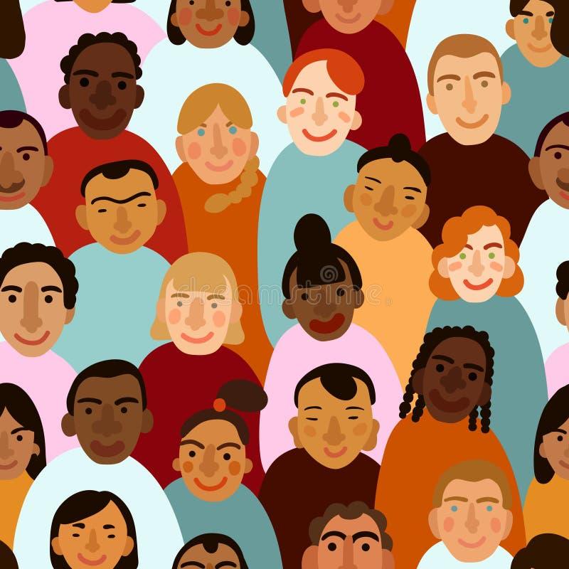 Modelo inconsútil de los rostros humanos internacionales ilustración del vector