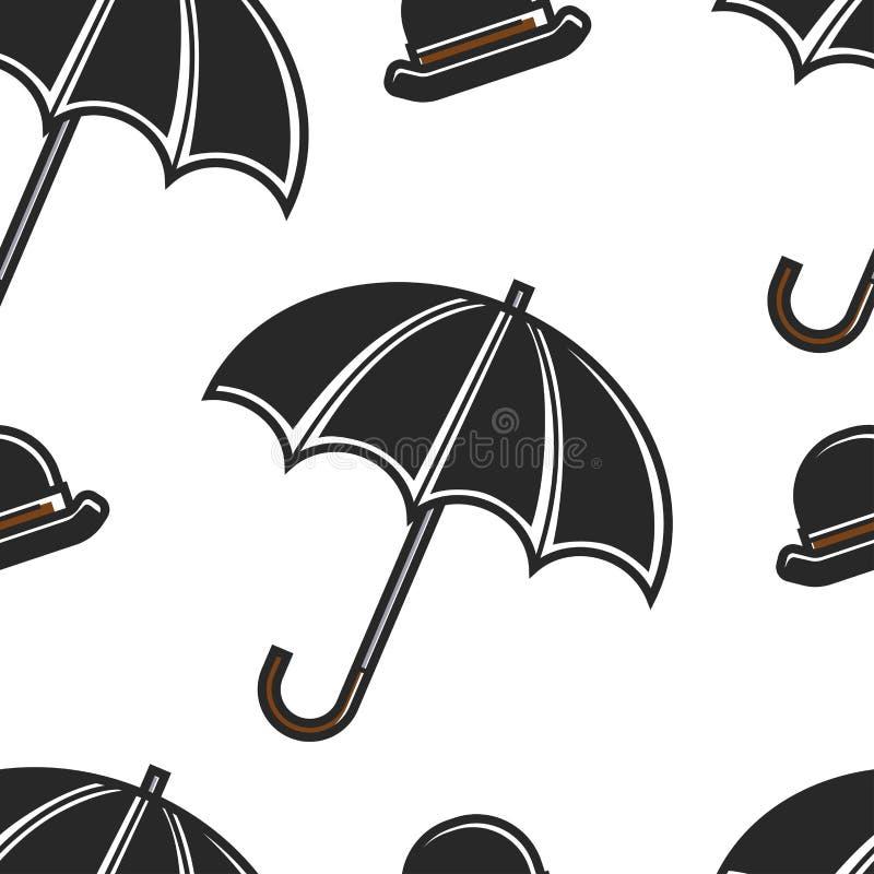 Modelo inconsútil de los símbolos británicos del hongo y del paraguas libre illustration
