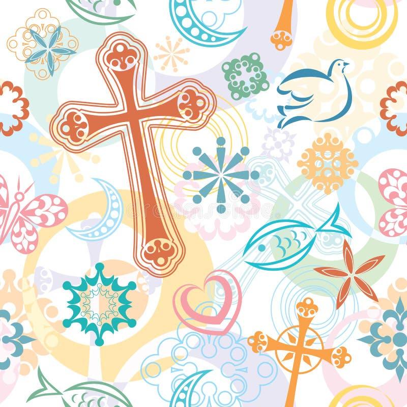 Modelo inconsútil de los símbolos cristianos stock de ilustración
