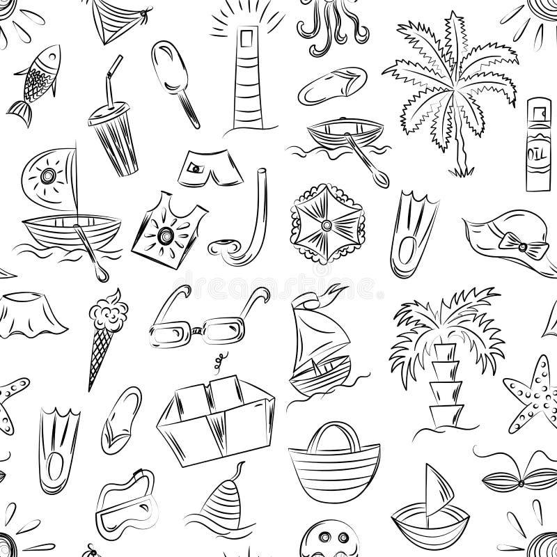 Modelo inconsútil de los símbolos dibujados mano de las vacantes del verano Dibujos de los niños de los barcos del garabato, hela stock de ilustración