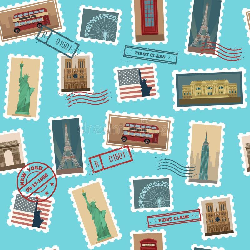 Modelo inconsútil de los sellos del viaje libre illustration