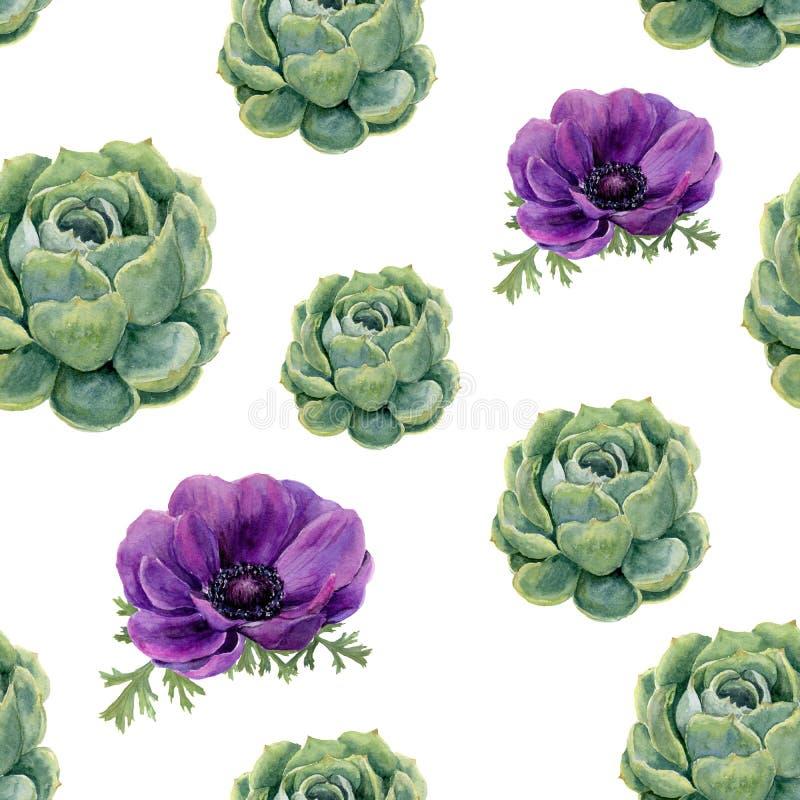Modelo inconsútil de los succulents de la acuarela y de las flores de la anémona en el fondo blanco Textura floral para el diseño ilustración del vector