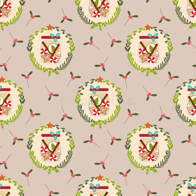 Modelo inconsútil de los tarros de galletas lindos de la Navidad libre illustration