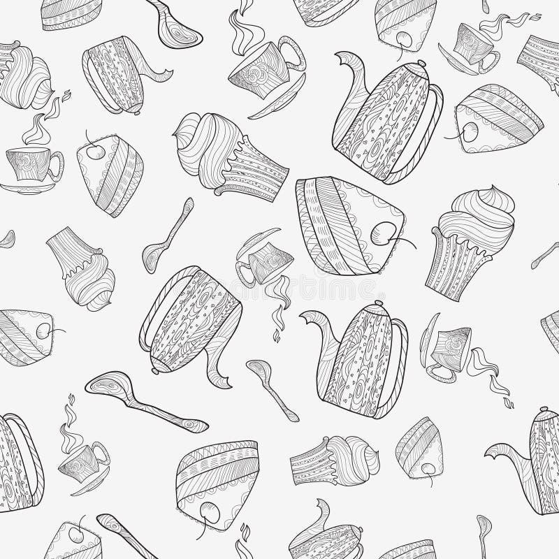 Modelo inconsútil de los temas para el té ilustración del vector