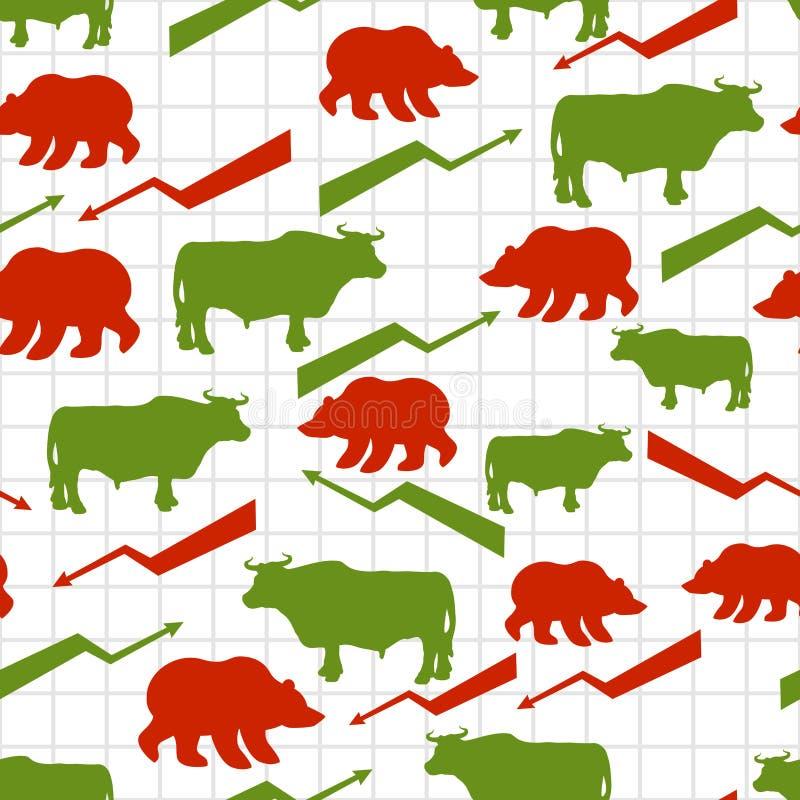 Modelo inconsútil de los toros y de los osos Comerciantes del intercambio Rojo encima de la flecha stock de ilustración