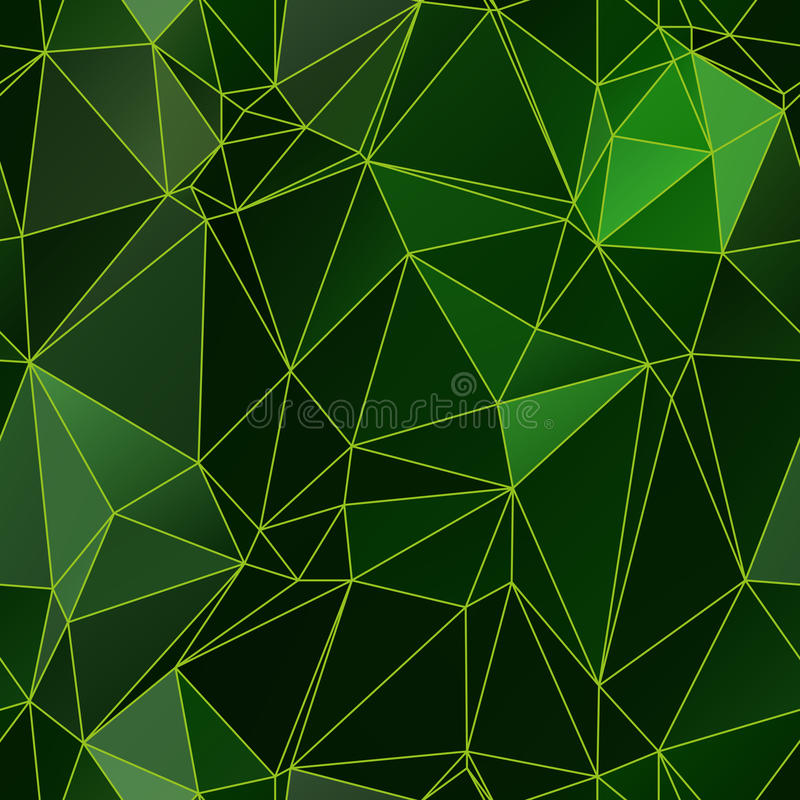 Modelo inconsútil de los triángulos bajos del polígono en colores verdes ilustración del vector