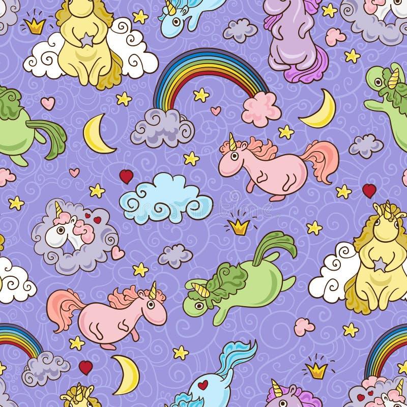 Modelo inconsútil de los unicornios lindos Ilustración del vector Fondo del bebé stock de ilustración