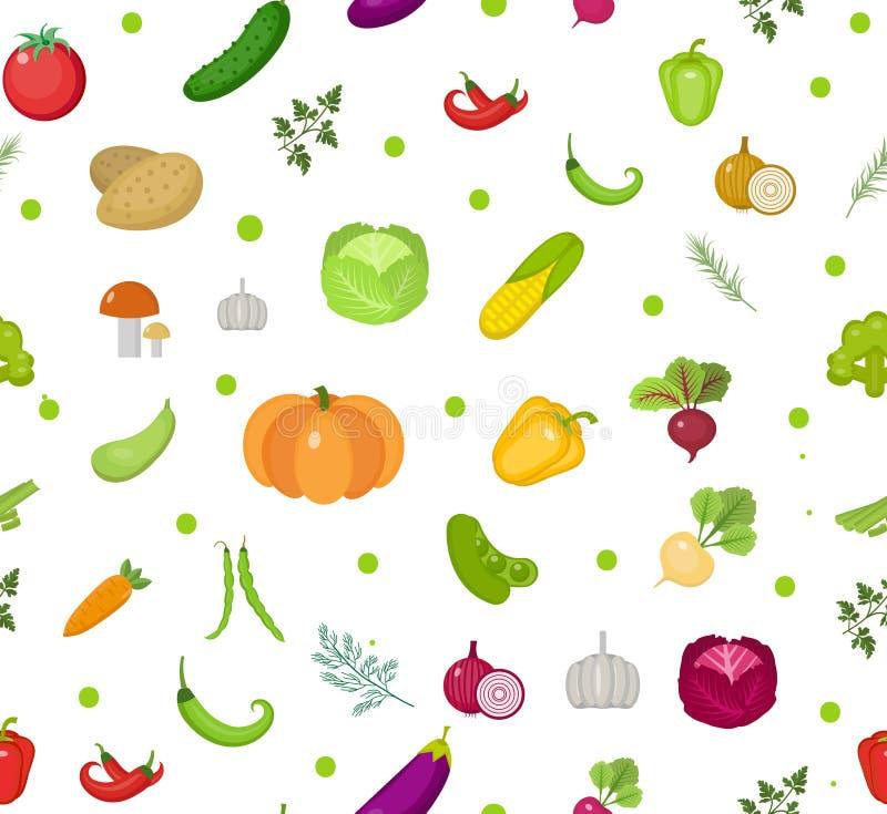 Modelo inconsútil de los vehículos Fondo sin fin de la ensalada Forma de vida sana, vegano, dieta vegetariana, comida cruda Vecto ilustración del vector