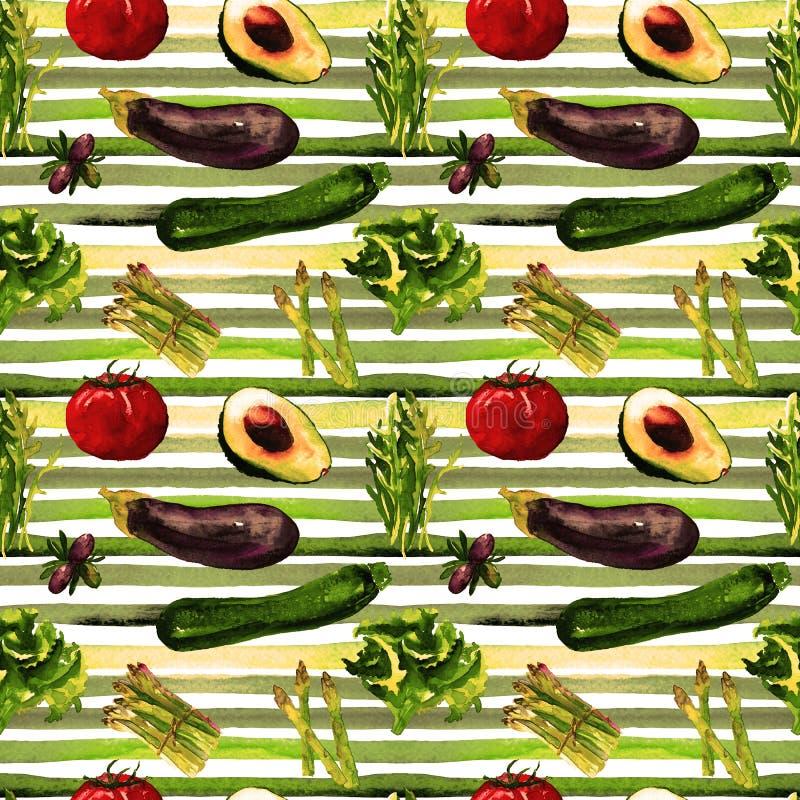 Modelo inconsútil de los vehículos Modelo repetible con la comida sana stock de ilustración