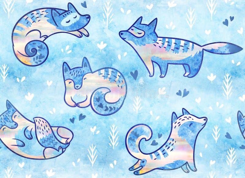 Modelo inconsútil de los zorros polares lindos Ejemplo dibujado mano en estilo de la historieta stock de ilustración