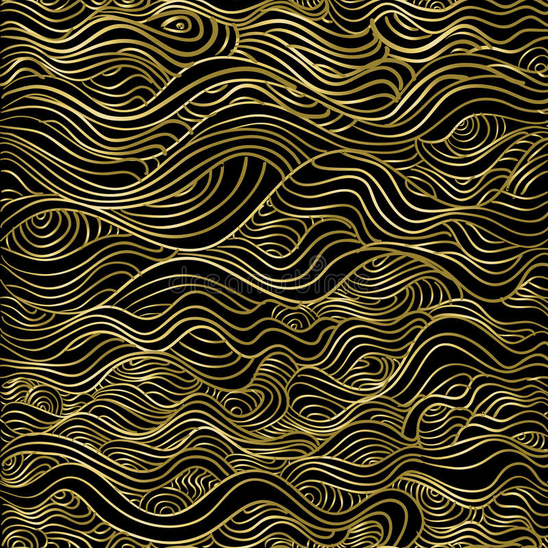 Modelo inconsútil de lujo del extracto de la onda del oro libre illustration