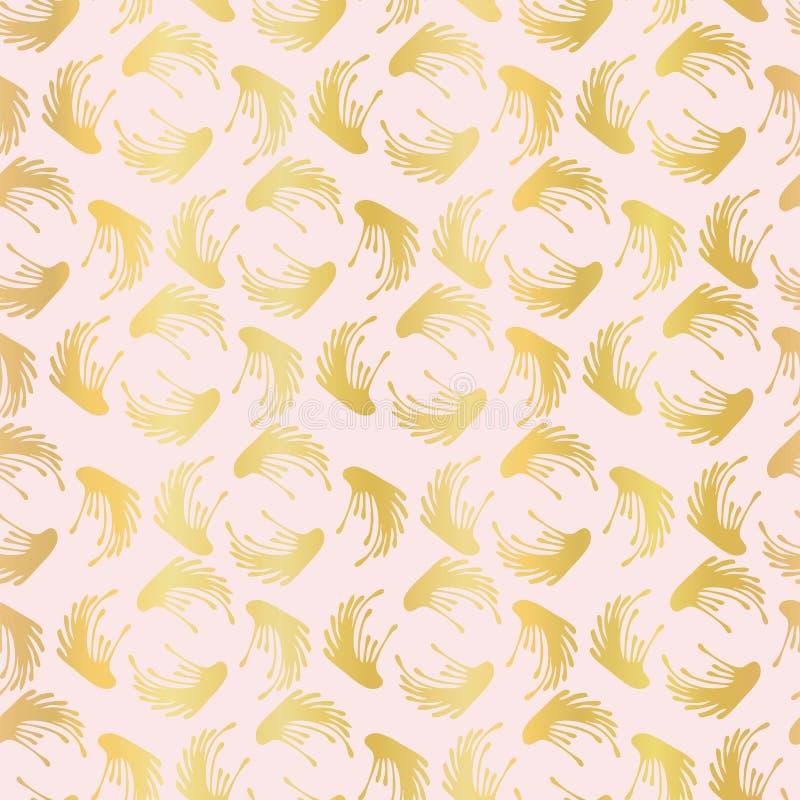 Modelo inconsútil de lujo del vector de Rose Gold Foil Leaf Swirl, damasco dibujado ilustración del vector