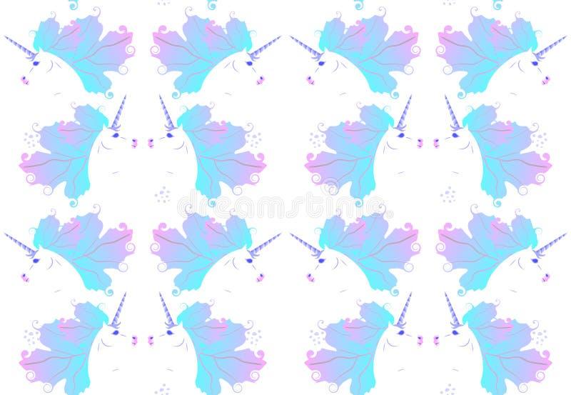 Modelo inconsútil de lujo de la simetría con unicornios blancos lindos con la melena azul clara en la forma de las hojas de otoño ilustración del vector