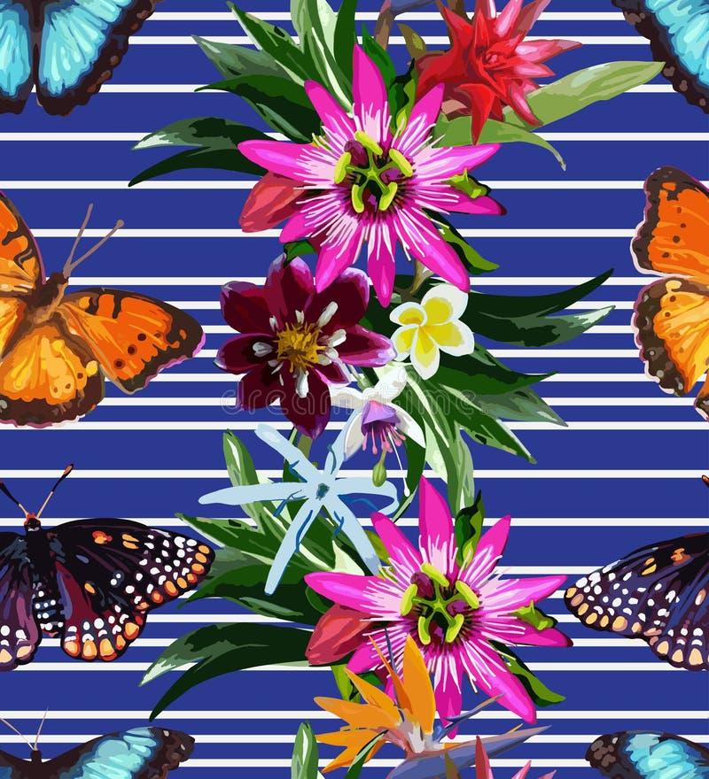 Modelo inconsútil de mariposas y de flores libre illustration