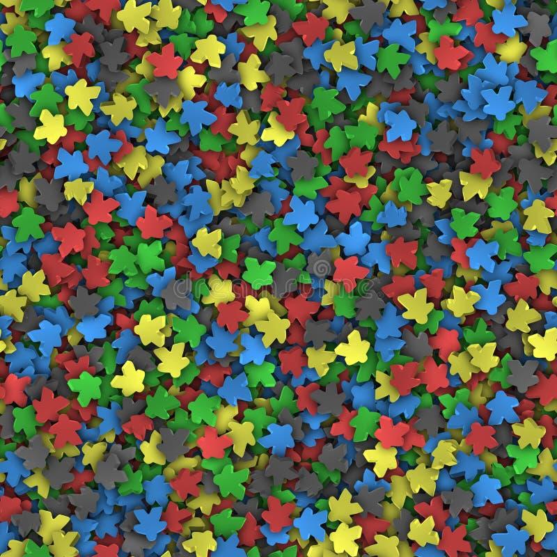 Modelo inconsútil de meeples multicolores imagen de archivo