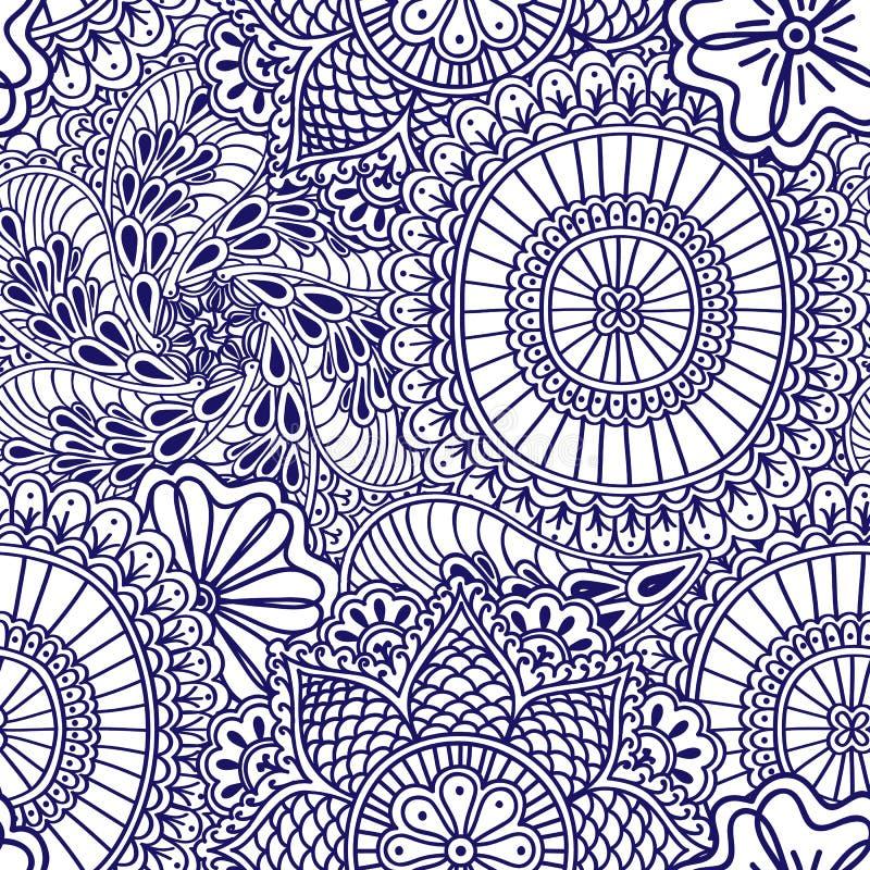 Modelo inconsútil de Mehendi del azul con el color blanco Elementos dibujados mano india del estilo de Boho libre illustration