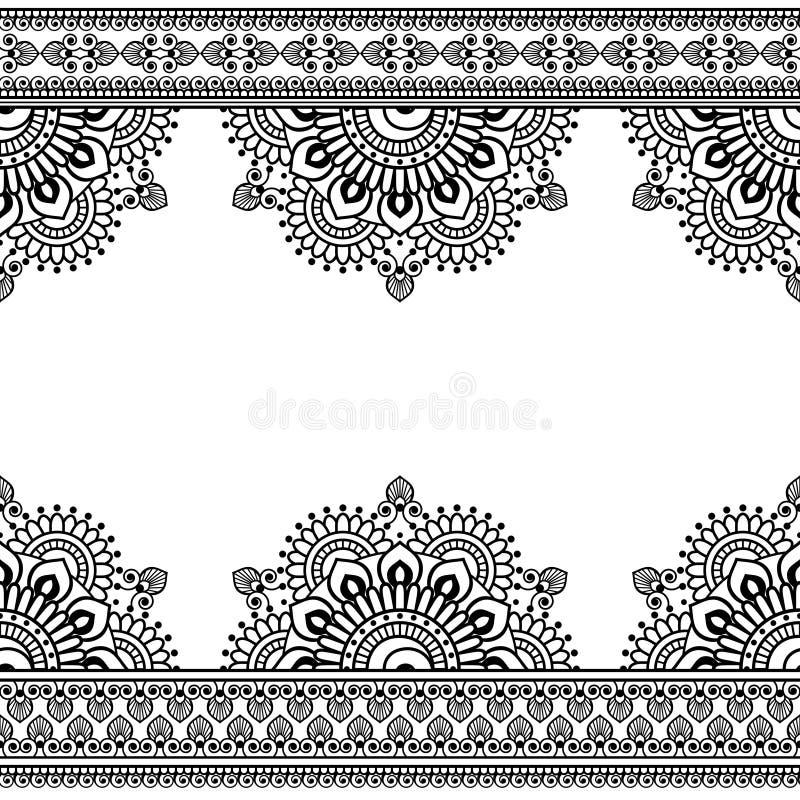 Modelo inconsútil de Mehndi del indio con los elementos florales de la frontera para la tarjeta y el tatuaje en el fondo blanco stock de ilustración
