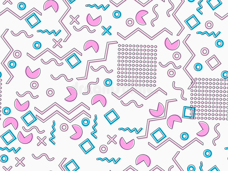 Modelo inconsútil de Memphis Elementos geométricos Memphis en el estilo 80 del ` s Tonos rosados y azules Vector stock de ilustración