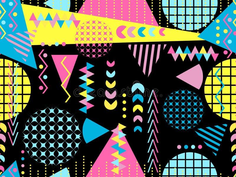 Modelo inconsútil de Memphis Elementos geométricos Memphis en el estilo 80 del ` s Vector ilustración del vector