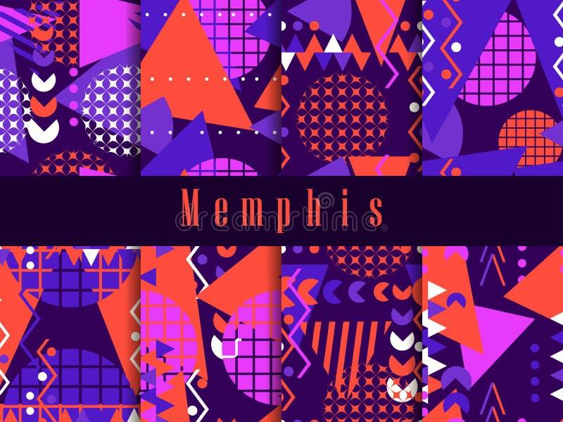 Modelo inconsútil de Memphis Elementos geométricos Memphis en el estilo 80 del ` s Vector libre illustration