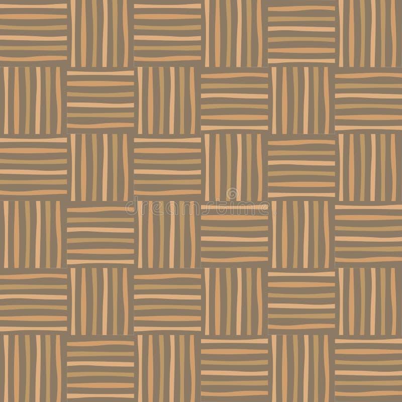 Modelo inconsútil de mimbre Fondo de madera decorativo abstracto de la textura ilustración del vector