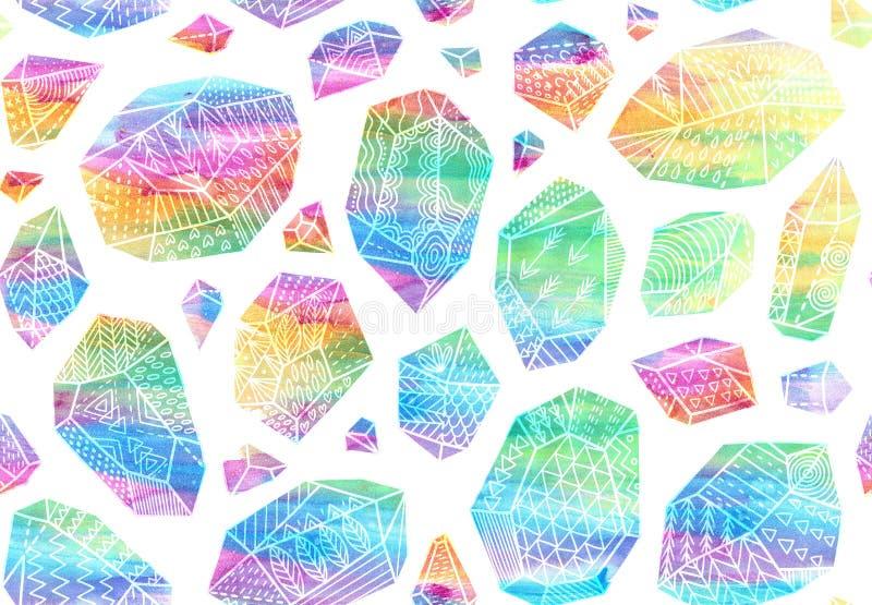 Modelo inconsútil de minerales, de cristales, de gemas y de diamantes libre illustration