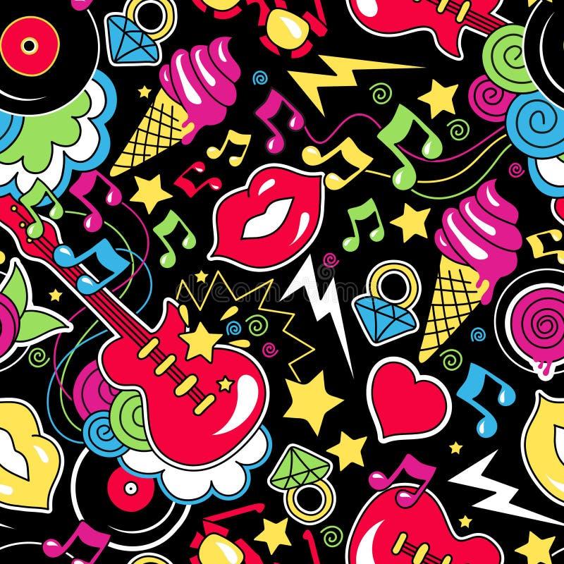 Modelo inconsútil de moda colorido del arte pop en un backgr azul libre illustration
