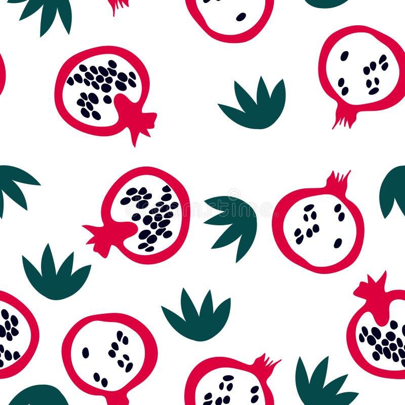 Modelo inconsútil de moda con la granada y las hojas Impresión del verano con las frutas en estilo escandinavo libre illustration