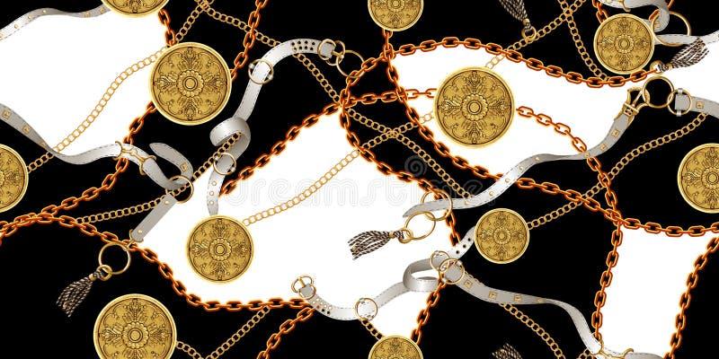 Modelo inconsútil de moda con las cadenas de oro y las correas, remiendo para la impresión, tela stock de ilustración