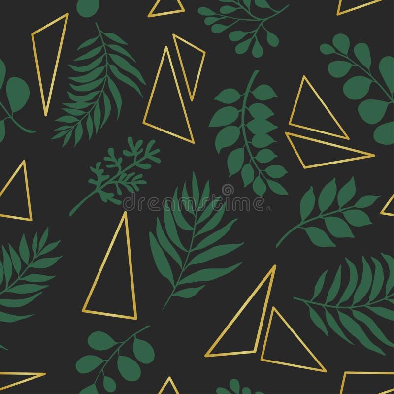 Modelo inconsútil de moda con las hojas exóticas y los triángulos de oro stock de ilustración