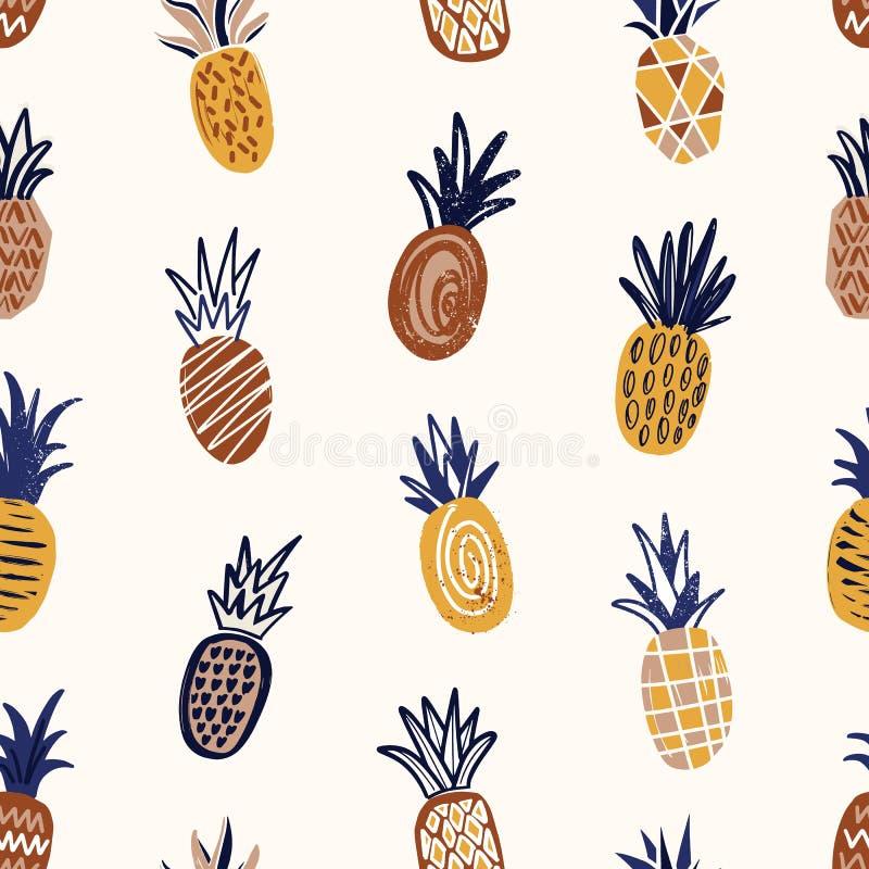 Modelo inconsútil de moda con las piñas texturizadas en fondo ligero Contexto con las frutas dulces exóticas Vector natural ilustración del vector